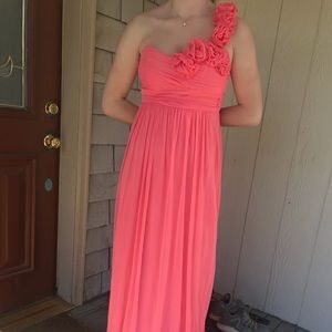 Macy's Coral bridesmaid dress